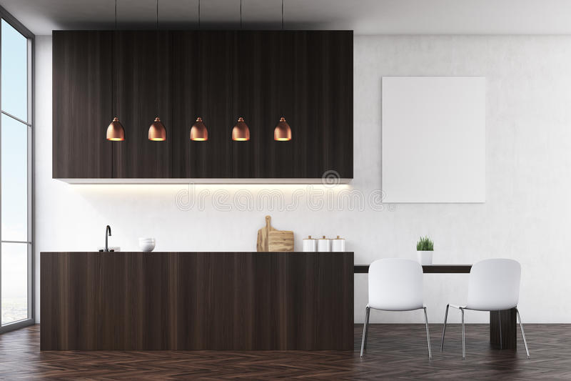 Vista laterale di una cucina con le pareti nere, la mobilia di legno scura e le sedie bianche vicino ad un tavolo da pranzo illustrazione di stock