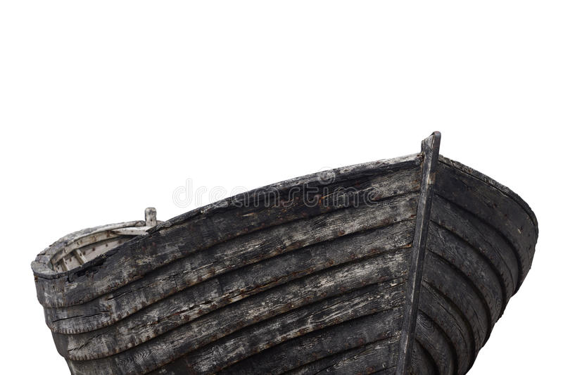 Vista laterale di vecchio crogiolo di legno di pesca fotografie stock libere da diritti
