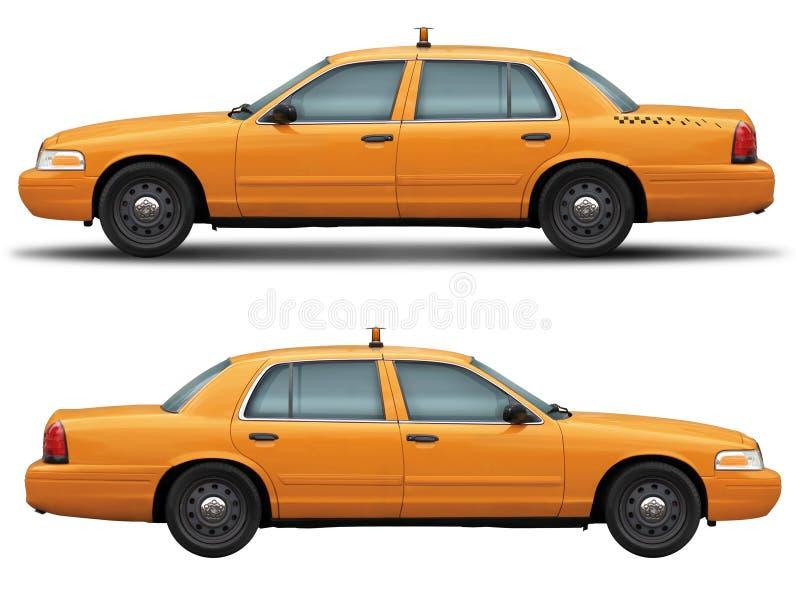 Vista laterale di Victoria del taxi dell'automobile della corona gialla di guado fotografia stock libera da diritti
