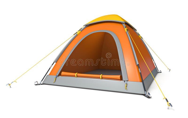 Vista laterale gialla arancio 3D della tenda di campeggio royalty illustrazione gratis