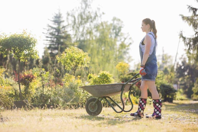 Vista laterale integrale del giardiniere femminile che spinge carriola alla scuola materna della pianta immagine stock