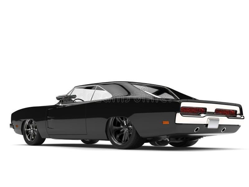 Vista laterale posteriore automobilistica del muscolo d'annata americano buio pesto illustrazione di stock