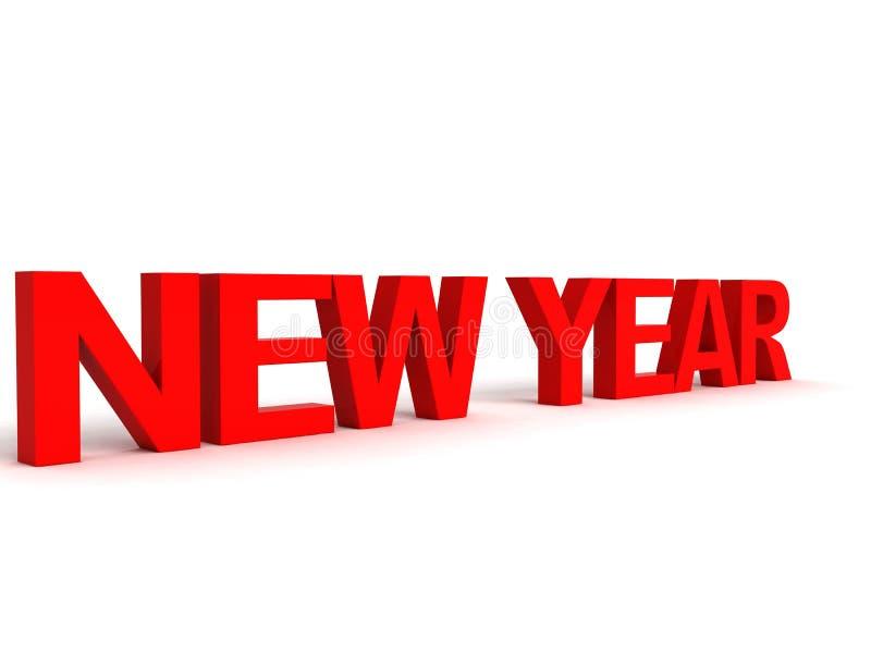 Vista laterale tridimensionale della parola di nuovo anno illustrazione vettoriale