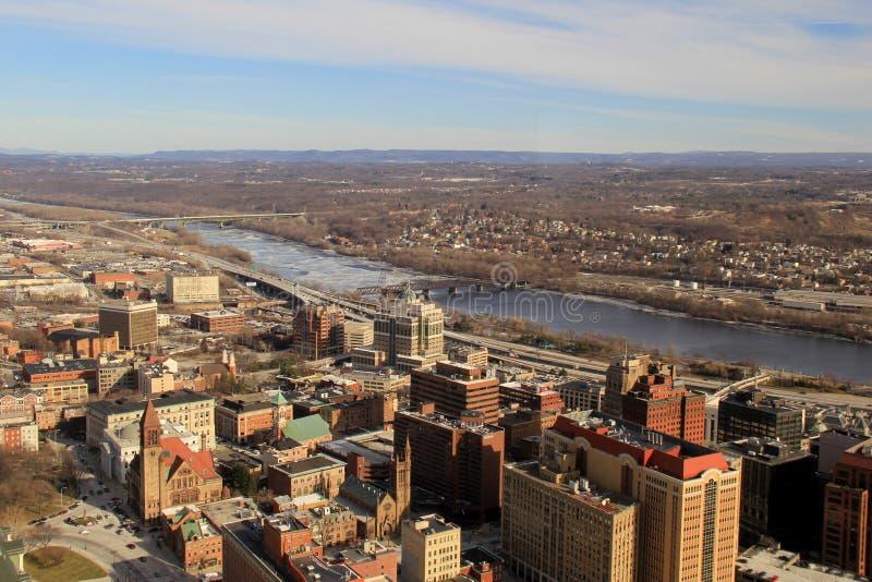 Vista lindo do 39th assoalho da torre de Corning, Albany, New York, 2016 imagens de stock royalty free
