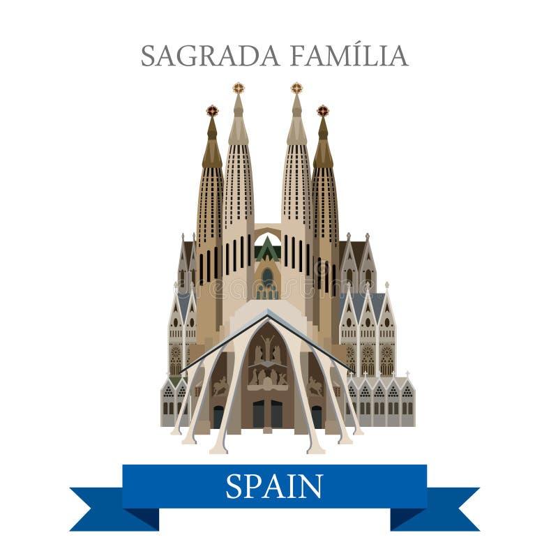 Vista lisa do vetor da Espanha de Barcelona da basílica de Sagrada Familia Gaudi ilustração royalty free