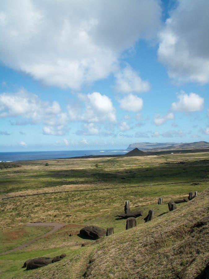 Vista lunga dell'isola di pasqua immagini stock