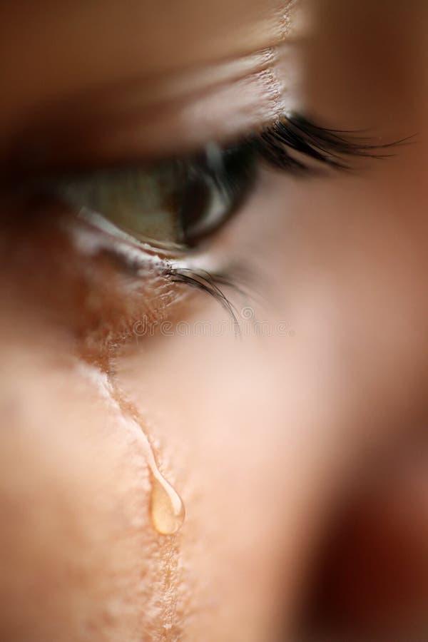 Vista macro de um olho com rasgos fotografia de stock royalty free