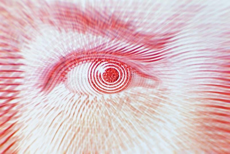 Vista macro de um olho vermelho de uma conta de cinqüênta dólares fotos de stock royalty free