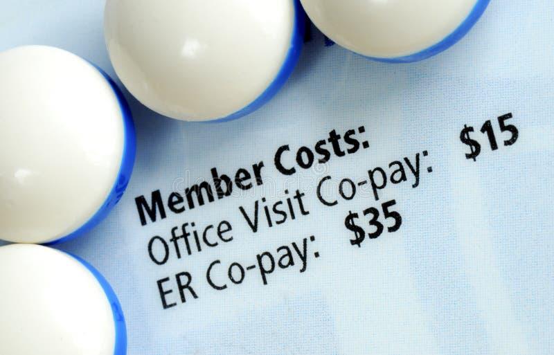 Vista macro do cartão do seguro médico foto de stock
