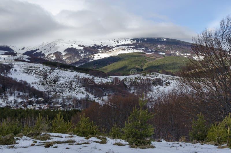 Vista maestosa del cielo nuvoloso, della montagna di inverno, della radura nevosa, del distretto residenziale, della conifera e d immagini stock
