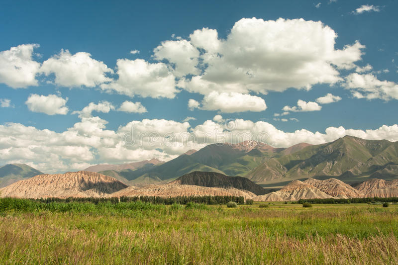 Vista magnifica della valle verde alle montagne centroasiatiche coperte di cappuccio delle nuvole bianche fotografia stock libera da diritti
