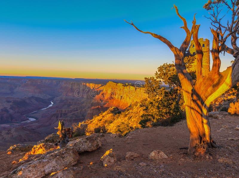 Vista majestueux de la gorge grande au crépuscule photo stock