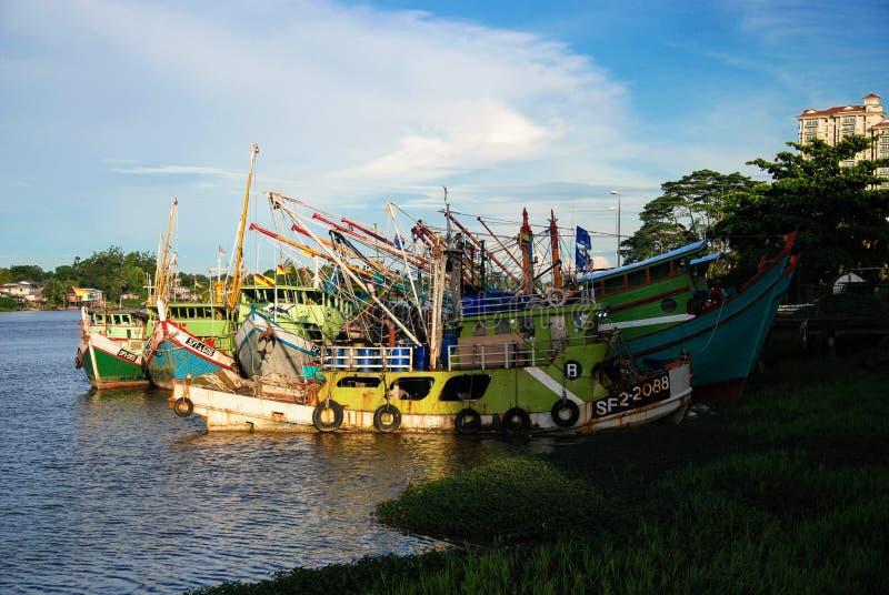 Vista Malesia Borneo del fiume di Kuching fotografia stock