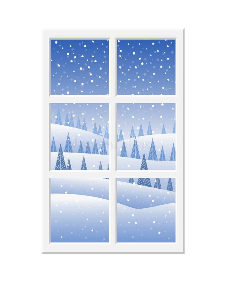 Vista maravilhosa da janela na paisagem do inverno: céu azul, neve, abeto vermelho e a neve de queda ilustração do vetor