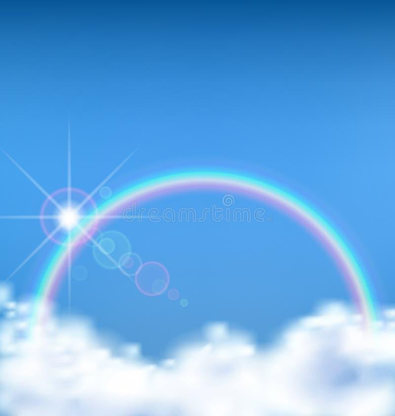 A vista maravilhosa na nuvem com arco-íris ilustração royalty free