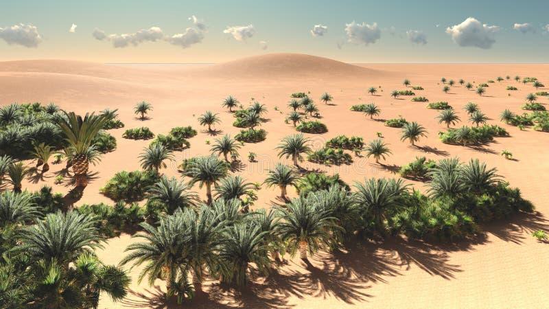 Vista maravilhosa no deserto de Sahara na rendição do pôr do sol 3d ilustração do vetor