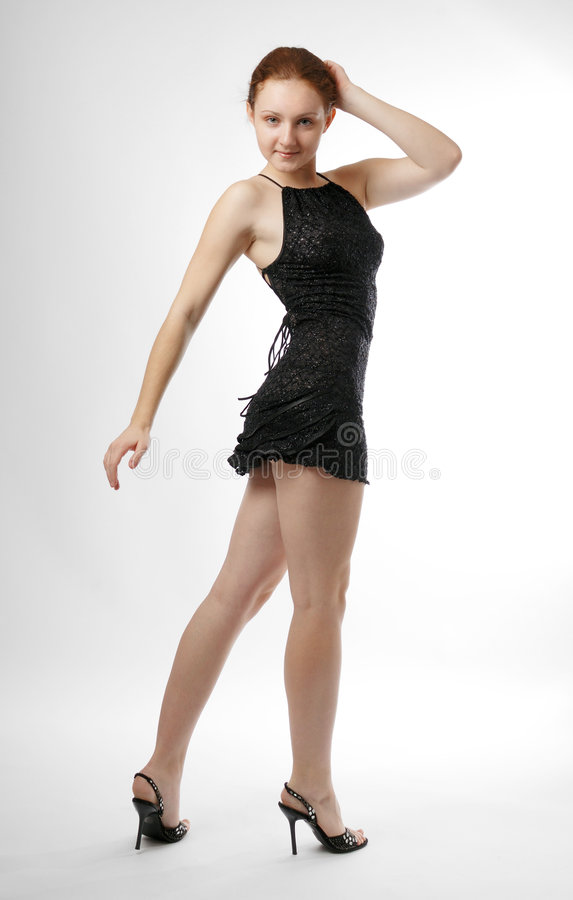 Vista modelo ao redor no vestido curto imagens de stock