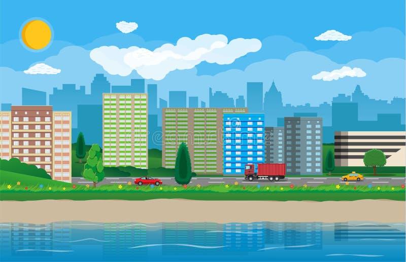 Vista moderna della città Lungomare, fiume, argine illustrazione vettoriale