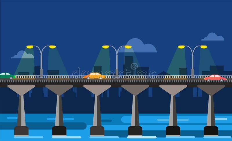 Vista moderna di notte della città dell'illustrazione di vettore del ponte illustrazione vettoriale
