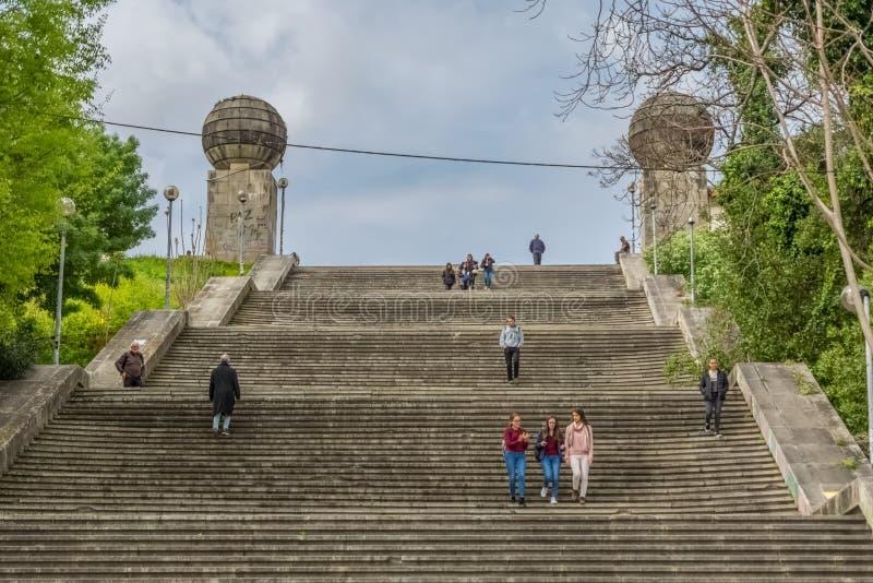 Vista monumentale delle scala, iconico simbolico della citt? dell'universit? di Coimbra fotografia stock libera da diritti