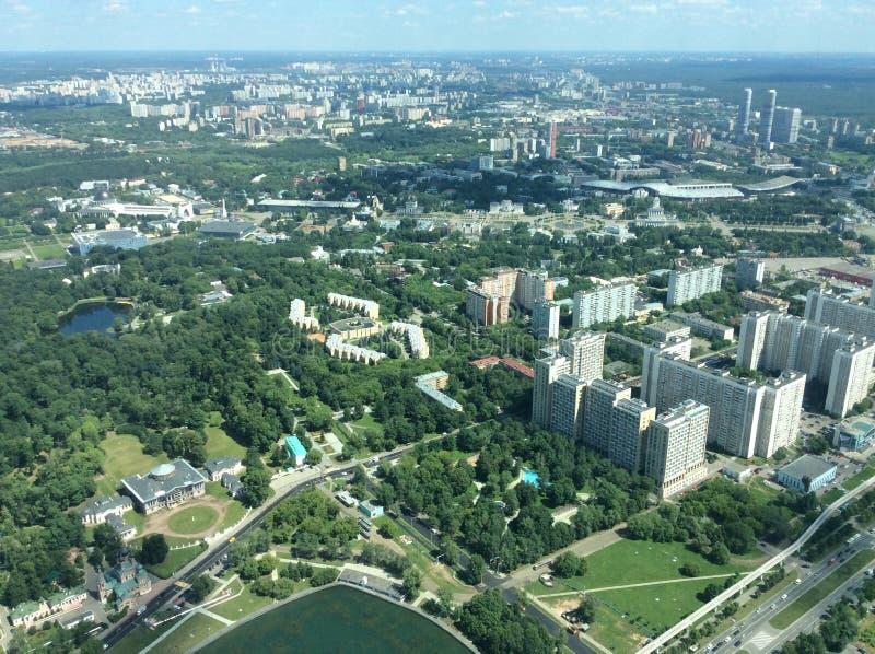 Vista a Mosca da Ostankino TV e torre radiofonica immagine stock libera da diritti