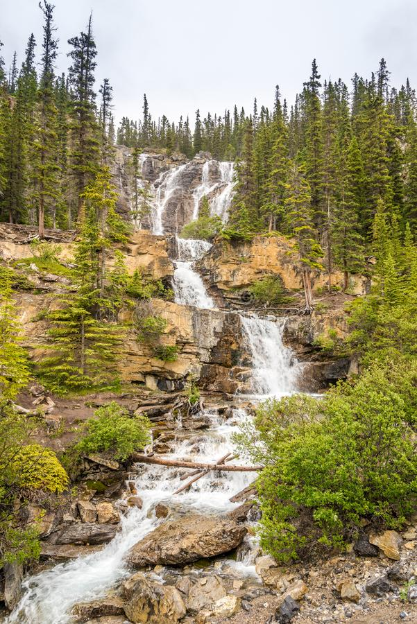 A vista na angra do emaranhado cai perto da estrada da via pública larga e urbanizada de Icefields em Jasper National Park - cana fotos de stock