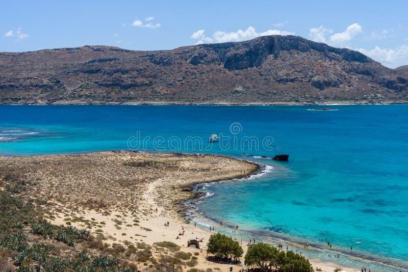 Vista na baía da ilha Imeri Gramvousa foto de stock royalty free