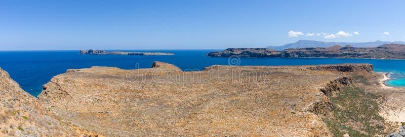 Vista na baía da ilha Imeri Gramvousa fotos de stock royalty free
