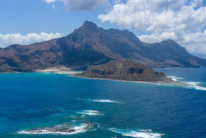 Vista na baía da ilha Imeri Gramvousa imagens de stock