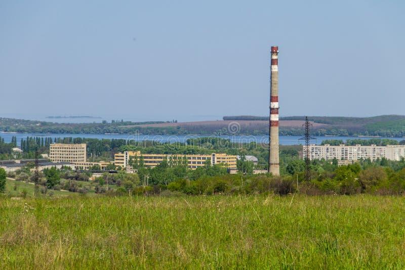 Vista na cidade de Svetlovodsk e no rio Dnieper fotografia de stock royalty free