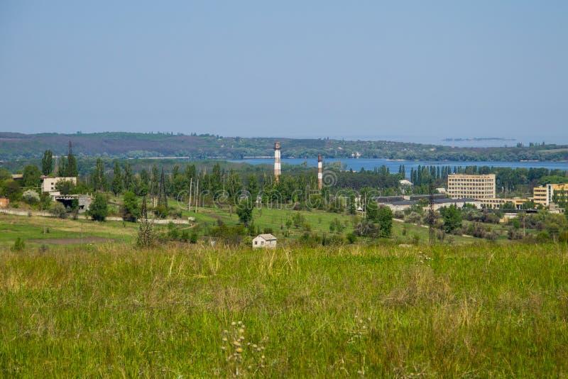 Vista na cidade de Svetlovodsk e no rio Dnieper imagem de stock