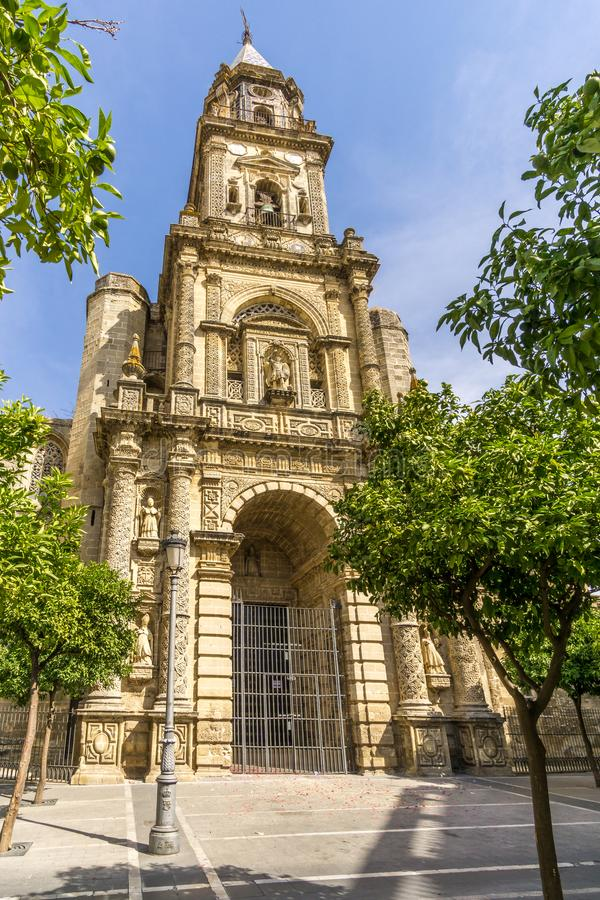 Vista na igreja de San Miguel em Jerez de la Frontera - Espanha fotos de stock