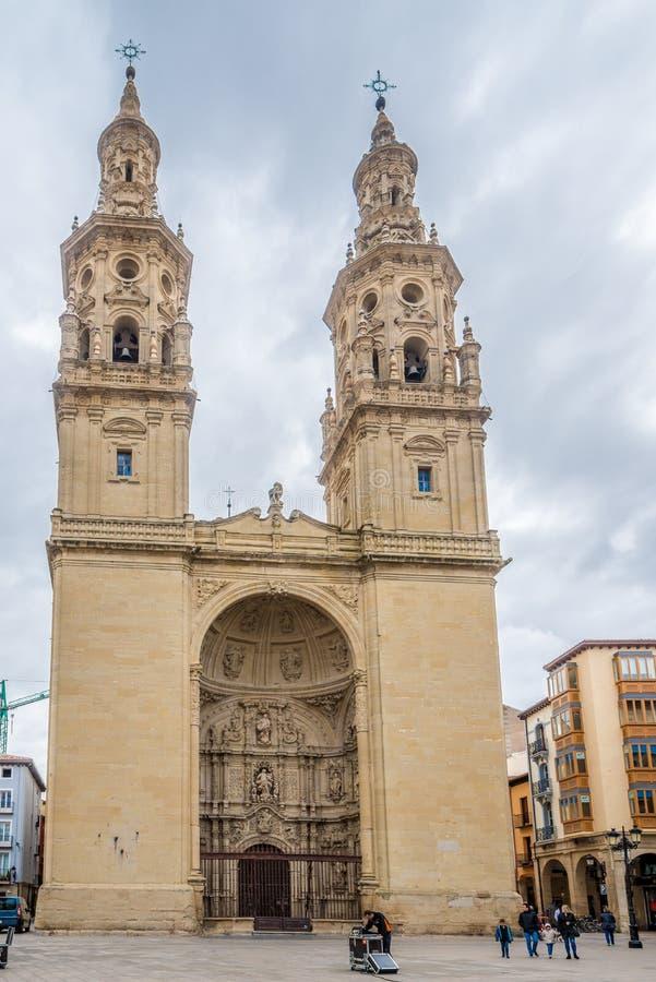 Vista na igreja de Santa Maria de la Redonda em Logrono - Espanha fotografia de stock