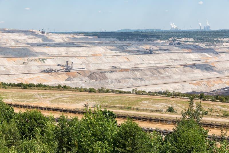 Vista na mina de poço aberto Hambach com escavação de carvão marrom imagem de stock