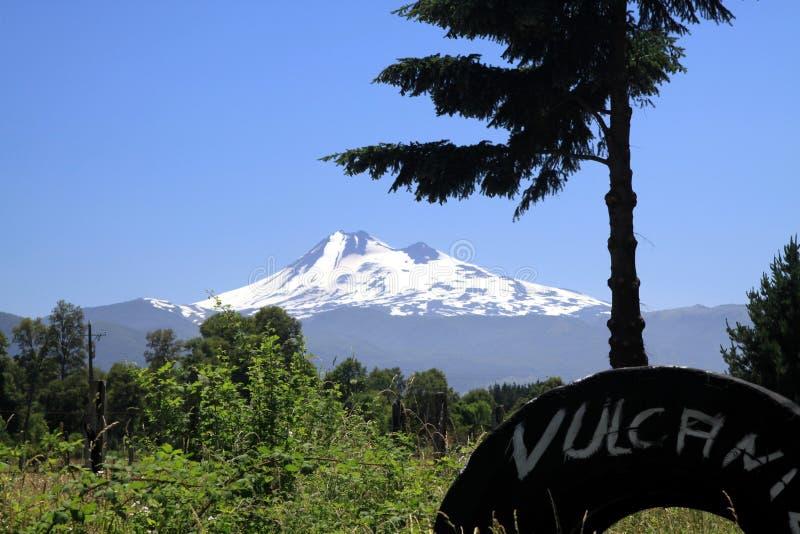 A vista na neve tampou o cone preto de Volcano Llaima em Conguillio no Chile central moldado pelo araucana da araucária dos pinhe foto de stock