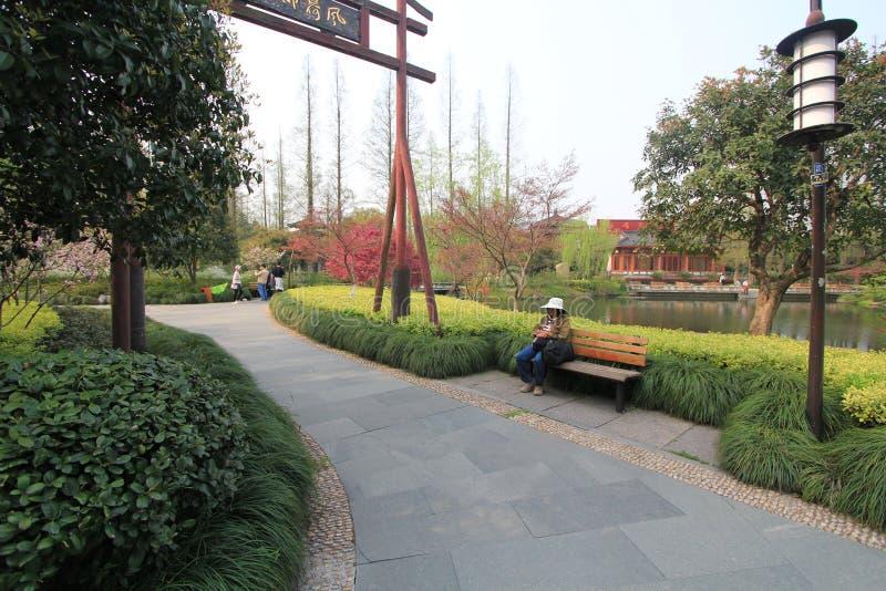 Vista na paisagem cultural do lago ocidental de Hangzhou fotografia de stock