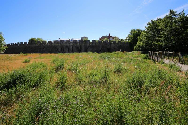 Vista na parte externa do castelo em Trelleborg, Suécia foto de stock royalty free