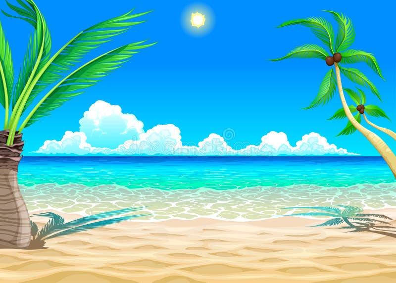 Vista na praia ilustração royalty free