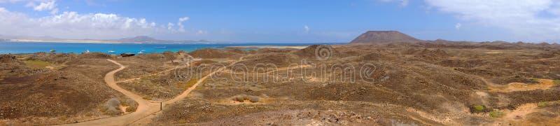 Vista na praia na ilha Lobos, Espanha foto de stock