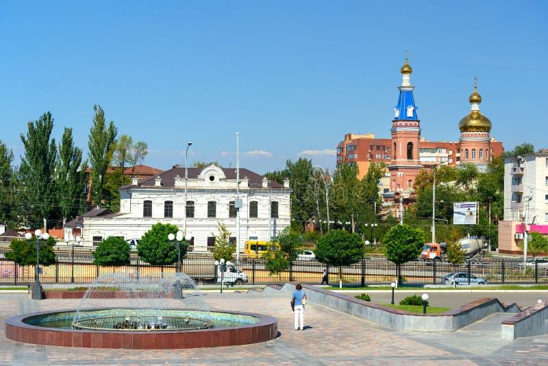 Vista na rua em Astracã imagem de stock