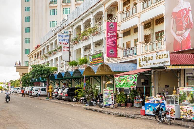 Vista na rua em Kampong Cham, Camboja imagem de stock royalty free