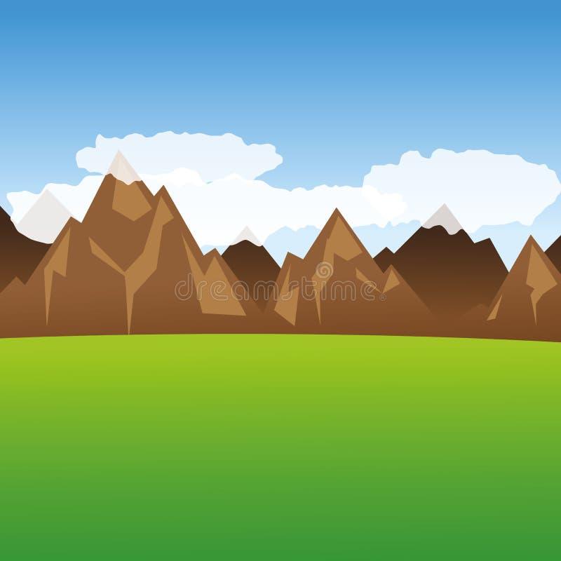 Vista nas montanhas e no prado verde ilustração stock