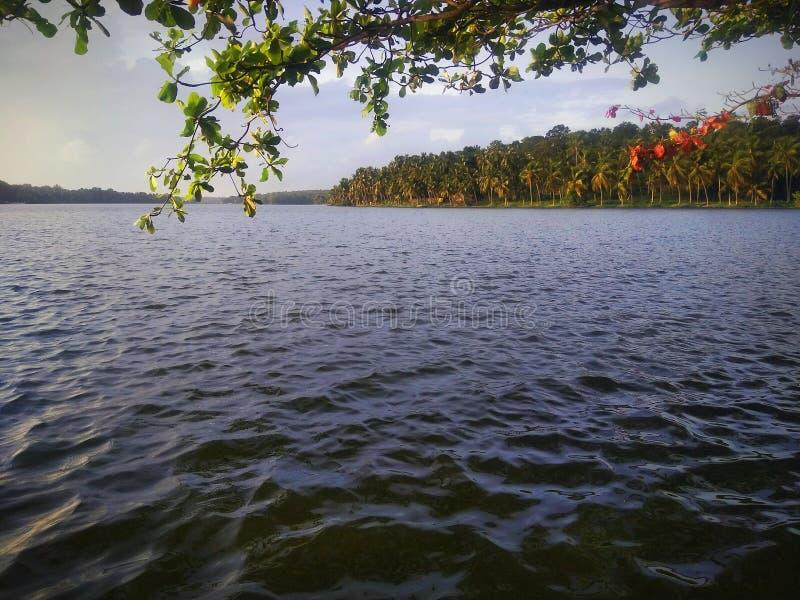 Vista natural do lago do velliyalli imagens de stock