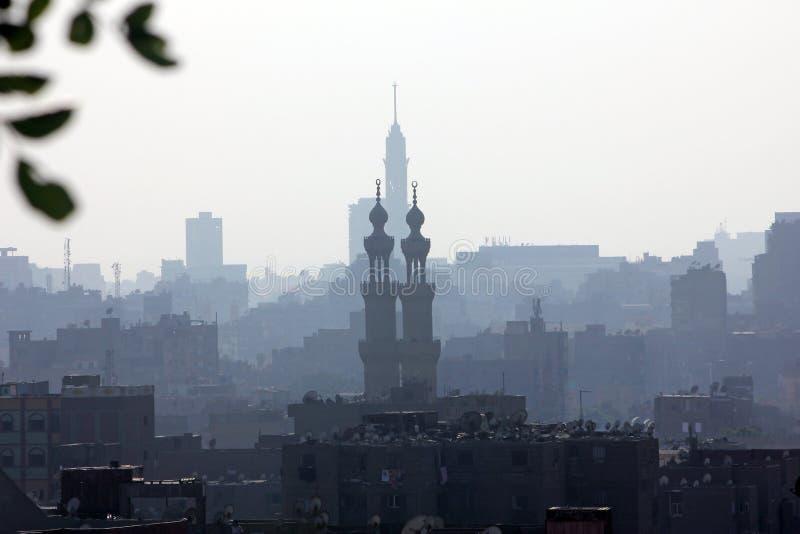 Vista nebbiosa dell'Egitto Cairo immagine stock libera da diritti