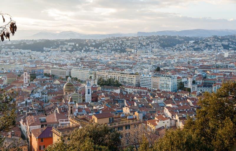 Vista Nizza della città - d'Azur di Côte, Francia fotografia stock libera da diritti