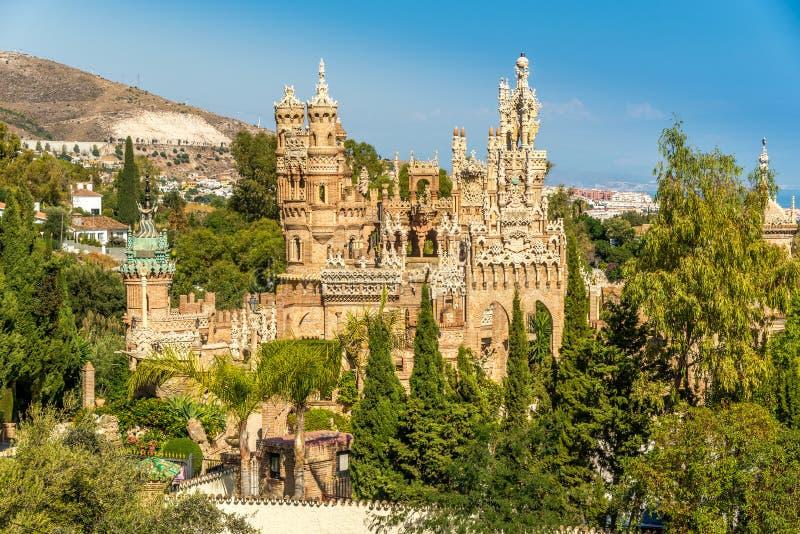 Vista no castelo de Colomares em Benalmadena, dedicado de Christopher Columbus - Espanha foto de stock royalty free