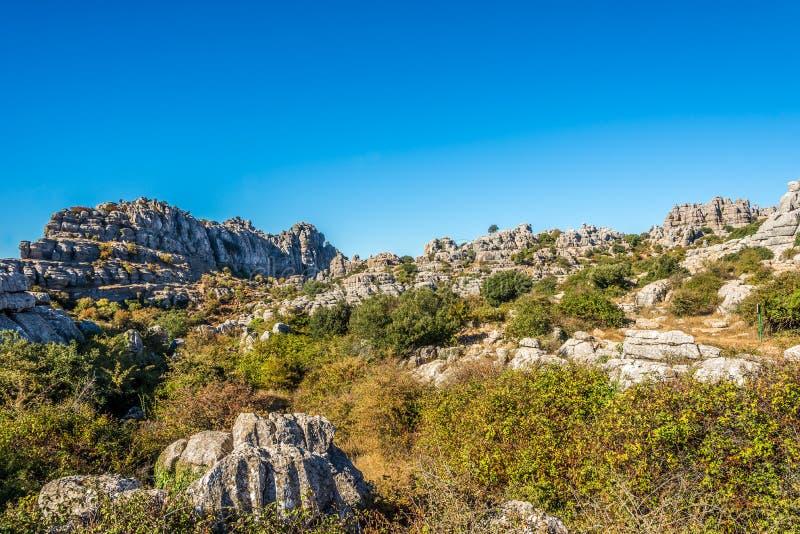 Vista no EL Torcal da formação de rocha de Antequera - Espanha fotos de stock royalty free