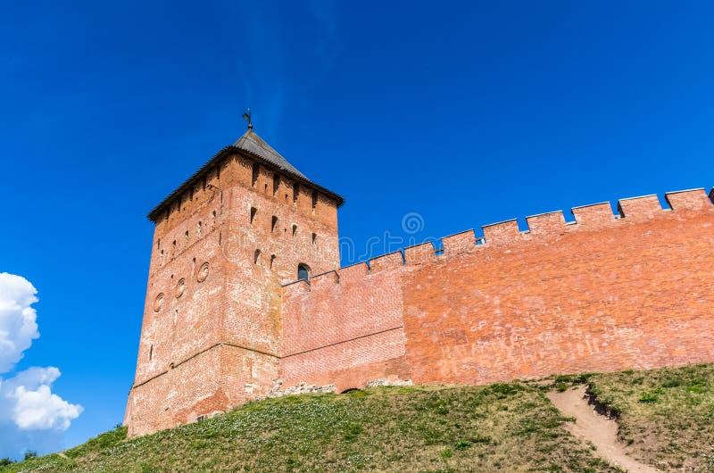 Vista no Kremlin em Veliky Novgorod fotografia de stock
