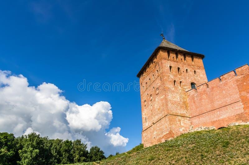 Vista no Kremlin em Veliky Novgorod foto de stock