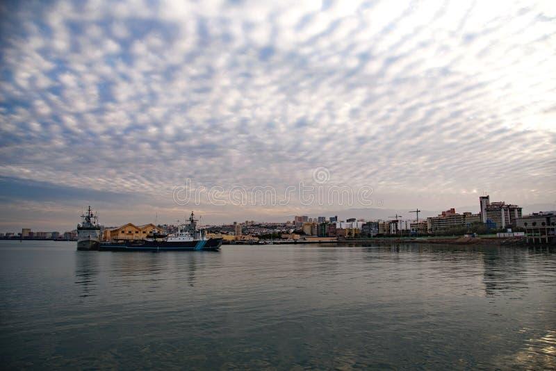 Vista no Las Palmas do porto, canário de Gran fotos de stock